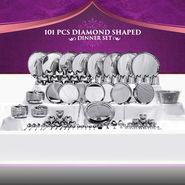 101 Pcs Diamond Shaped Stainless Steel Dinner Set