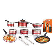 15 Pcs Colored Cookware Set with Free Knife Set & Chopping Board