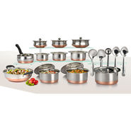 20 Pcs Copper Base Cook & Serve Set + 5 Pcs Kitchen Tools