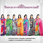 Aakriti Set of 7 Printed Georgette Sarees (7G20)