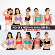 Eva's Secrets Pack of 5 Padded or Non Padded Bra - Pick Any One Combo