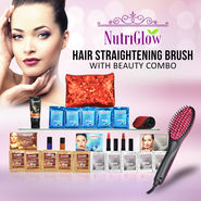 Hair Straightening Brush with Beauty Combo