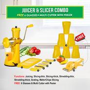 Juicer & Slicer Combo + 6 Glasses + Multi Cutter with Peeler