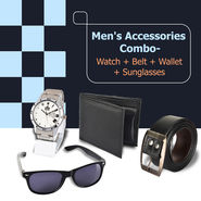 Men's Accessories Combo - Watch + Belt + Wallet + Sunglasses