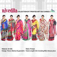 Nivedita Collection of 7 Printed Art Silk Sarees by Pakhi (7A16)