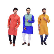 Pack of 3 Linen Look Long Kurta for Men (K3L1)