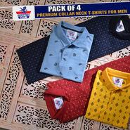 Pack of 4 Premium Collar Neck T-shirts for Men