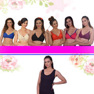 Pack of 6 Comfortable Full Coverage Bras by Fashion Comfortz + 1 Camisole Free