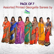 Pack of 7 Assorted Printed Georgette Sarees by Pakhi (7G40)