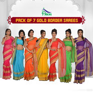 Pack of 7 Gold Border Sarees by Pakhi (7T1)