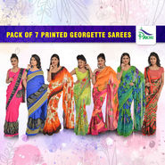 Pack of 7 Printed Georgette Sarees by Pakhi (7G36)