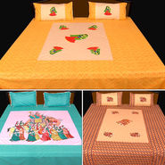 Rangotsav Set of 3 Embroidered Jaipuri Printed Bed Sheets with 6 Pillow Covers