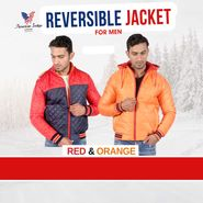 American Indigo Reversible Jacket For Men - Red & Orange
