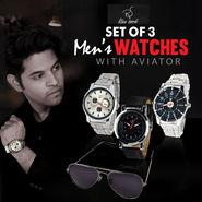 Rico Sordi Set of 3 Men's Watches with Aviators