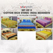 Set of 5 Cotton Rich Ethnic India Bedsheets + 10 Pillow Covers (5BS42)