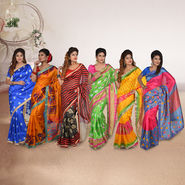Set of 6 Assorted Art Silk Sarees with Zari Border by Pakhi (6ABS4)