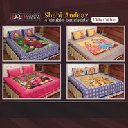 Shahi Andaaz - 4 Double Bedsheets (100% Cotton) (4DDBS4)