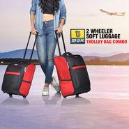 Top Gear 2 Wheeler Soft Luggage Trolley Bag Combo