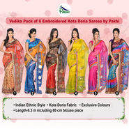 Vedika Pack of 6 Embroidered Kota Doria Sarees by Pakhi