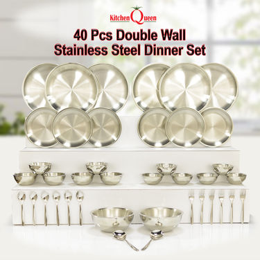 40 Pcs Double Wall Stainless Steel Dinner Set