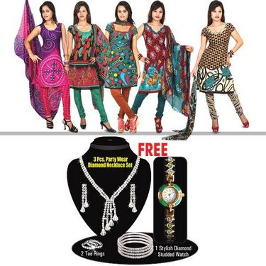 Rachana 5 Designer Printed Dress Material + Free Stunning CZ Diamond Jewellery with Watch
