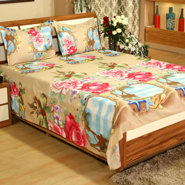 Aqua Rose 3D - 5 Double Bedsheets Combo (5BS22)