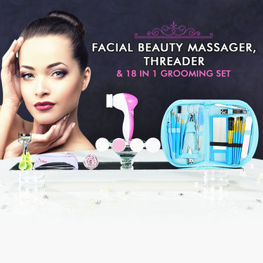 Facial Beauty Massager, Threader with 18 in 1 Grooming Kit