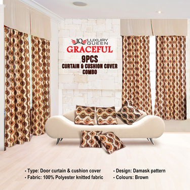 Graceful 9 Pcs Curtain & Cushion Cover Combo