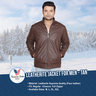 Leatherite Jacket for Men by American Indigo - Tan