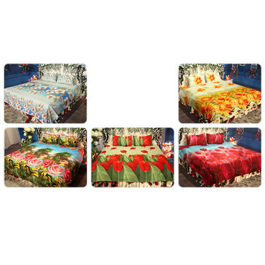 Mehekte Phool Pack of 5 - 3D Double Bedsheets (5BS19)