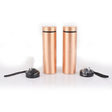 Pack of 2 Copper Bottles with Sipper & Brush