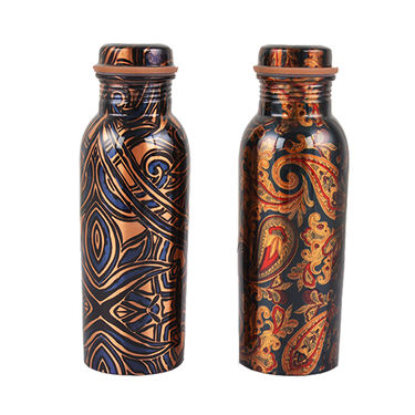 Printed Pack of 2 Copper Bottles with Brush