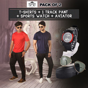 Pack of 2 T-shirts + 1 Track Pant + Sports Watch + Aviators