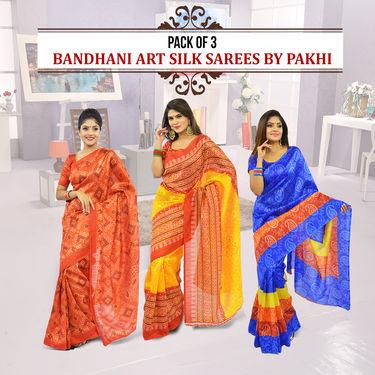 Pack of 3 Bandhani Art Silk Sarees by Pakhi (3A2)