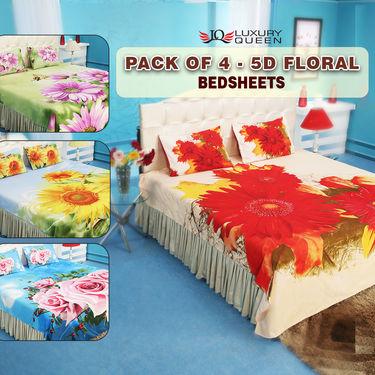 Pack of 4 - 5D Floral Bedsheets (4DBS3)