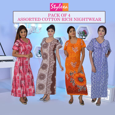 Pack of 4 Assorted 100% Cotton Nightwear by Stylexa