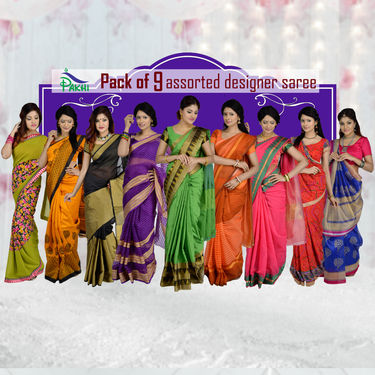 Pack of 9 Assorted Designer Sarees by Pakhi (9MS1)