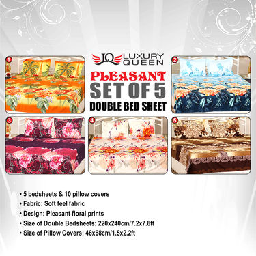 Pleasant Set of 5 Double Bedsheets (5BS13)