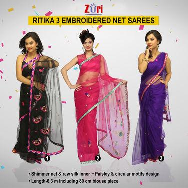 b00b37ffbe Buy Zuri Ritika 3 Embroidered Net Sarees (3N2) Online at Best Price in India  on Naaptol.com