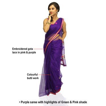 cf6bdb5c9a Buy Zuri Ritika 3 Embroidered Net Sarees (3N2) Online at Best Price ...
