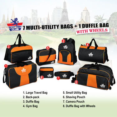 7 Multi-utility Bags + 1 Duffle Bag with Wheels