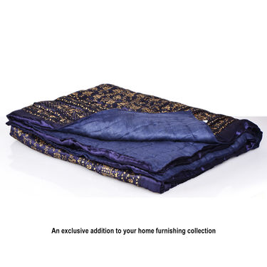 Set of 2 Blue Jaipuri Silk Razai with Gold Prints