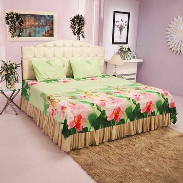 Set of 5 - Floret 3D Double Bedsheets with 10 Pillow Covers (5BS27)