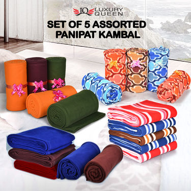 Set of 5 Assorted Panipat Kambal