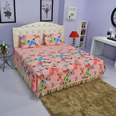 Set of 5 Cotton Rich Modern Floral Bedsheets + 10 Pillow Covers (5BS43)