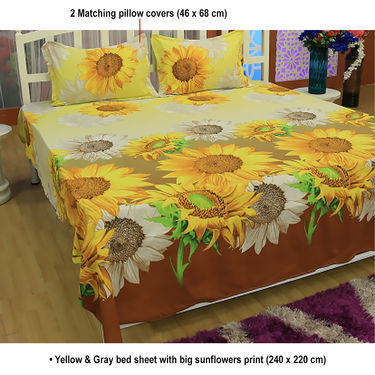 Set of 5 Floral 3D Bed Sheets with 10 Pillow Covers