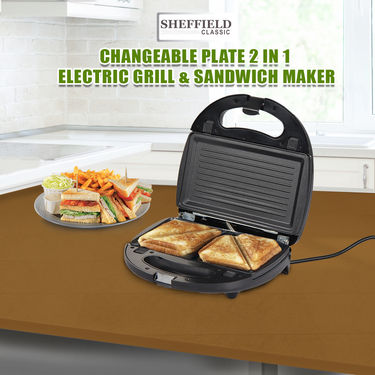 Sheffield Changeable Plate 2 in 1 Electric Grill & Sandwich Maker